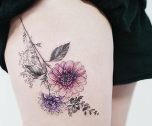tattoo, flowers, and colors image