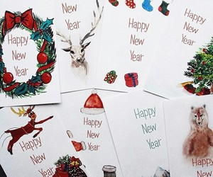 new year, art, and cards image