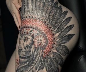 aztec, ink, and lion image