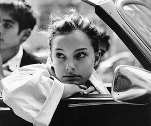 natalie portman, black and white, and car image
