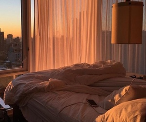 sunset, room, and bed image