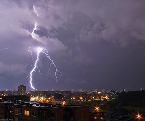 city, lightning, and Lithuania image