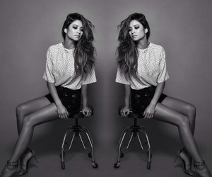 pretty little liars, black and white, and shay mitchell image