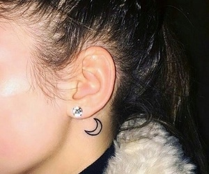 tattoo, moon, and earrings image