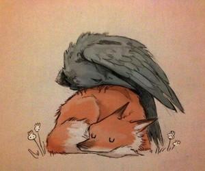 art, fox, and raven image
