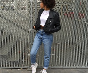 fashion, grunge, and leather jacket image