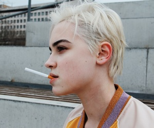 androgynous, beauty, and cigarette image