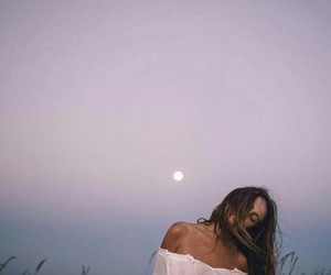 girl, moon, and style image