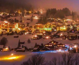 city lights, snow, and switzerland image