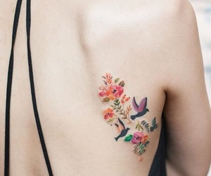 colour, Tattoos, and floral image