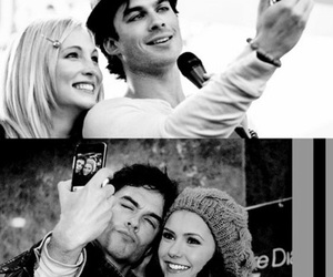 ian somerhalder, Nina Dobrev, and candice accola image