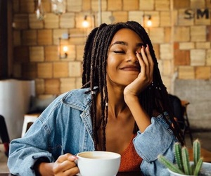 girl, smile, and coffee image