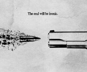 sad, gun, and ironic image