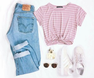 outfit, pink, and adidas image