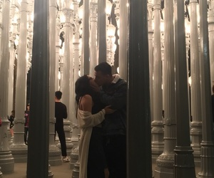 city lights, couple, and couple kissing image