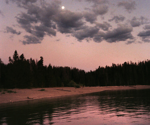 lake, moon, and forest image