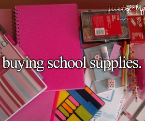 school, girly, and school supplies image