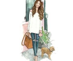 fashion blogger, off shoulder, and fashion illustration image