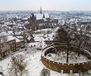 city, holland, and snow image