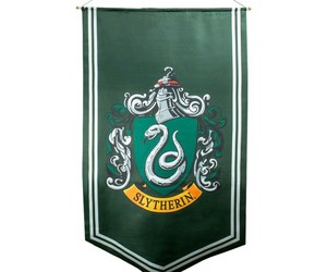 harry potter, collectables, and slytherin satin banner image