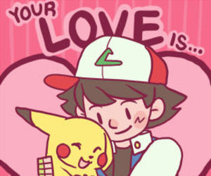 card, love, and pikachu image