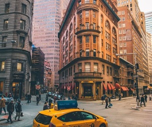 city, taxi, and street image