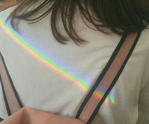 rainbow, girl, and grunge image