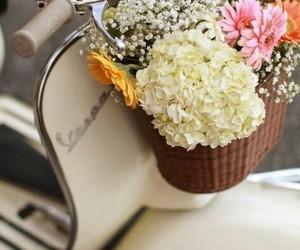 flowers, Vespa, and vintage image