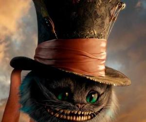 alice in wonderland and smiling cat image