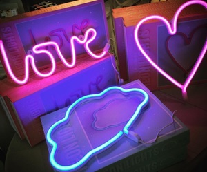 heart, neon, and clouds image