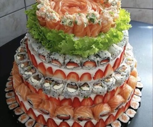 sushi, food, and cake image