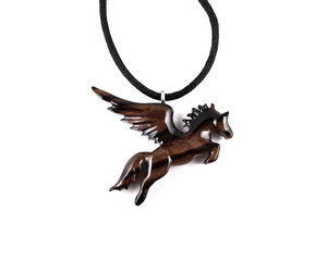etsy, wood carved pendant, and fantasy jewelry image