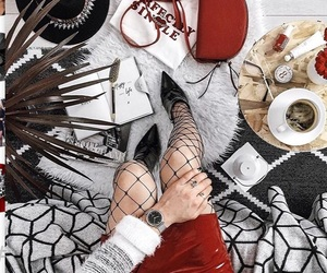coffee, fishnet, and red image