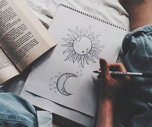 drawing, art, and moon image