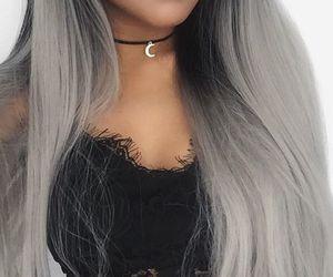 hair, girl, and grey image