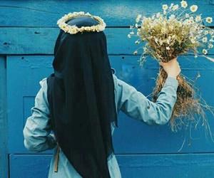 hijab, muslim, and blue image