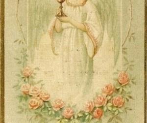angel, Catholic, and holy card image