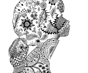 black & white, draw, and zentangle image