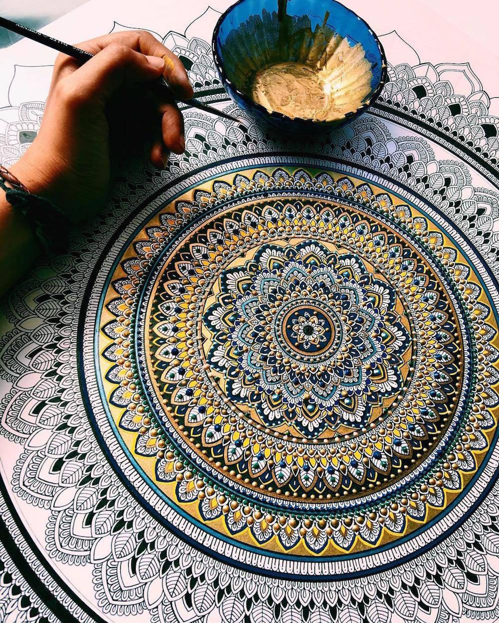 art, mandala, and gold image