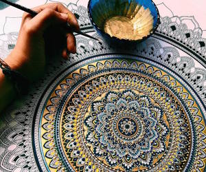 art, mandala, and gold image