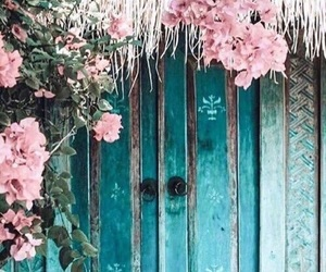 pink, teal, and flowers image