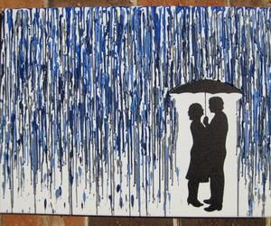art, rain, and couple image