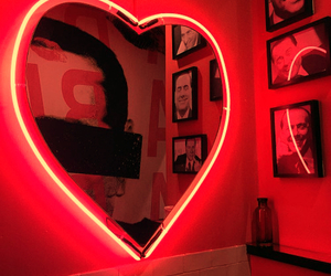 neon, heart, and red image