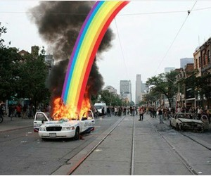rainbow, car, and fire image