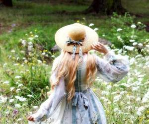 curly hair, hair, and vintage dress image