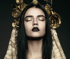gold, girl, and black image