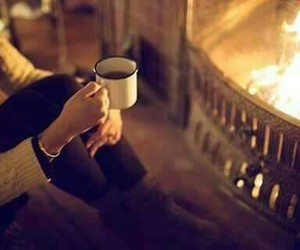 fire, coffee, and winter image