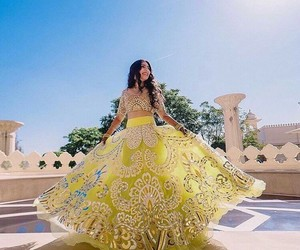 yellow, dress, and indian image