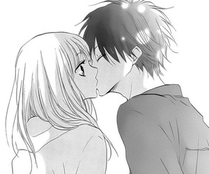 cute, couple, and kiss image