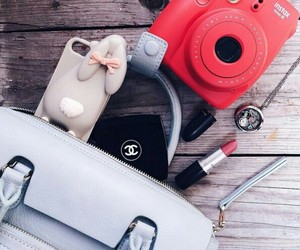 polaroid, chanel, and red image